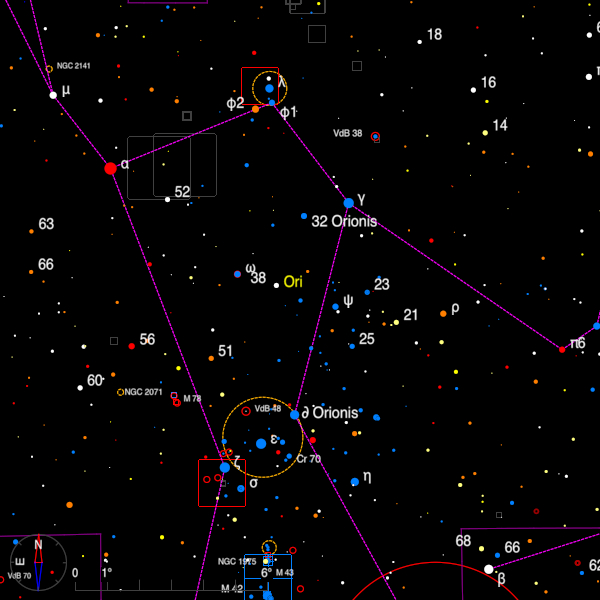 Image of a finder chart for the double stars 32 Ori and delta Ori in Orion