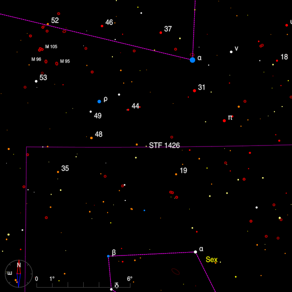 Image of a finder chart for the double star STF 1426 in Leo