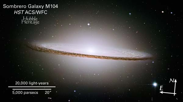 M104 in Virgo - Credit NASA and The Hubble Heritage Team (STScI/AURA)