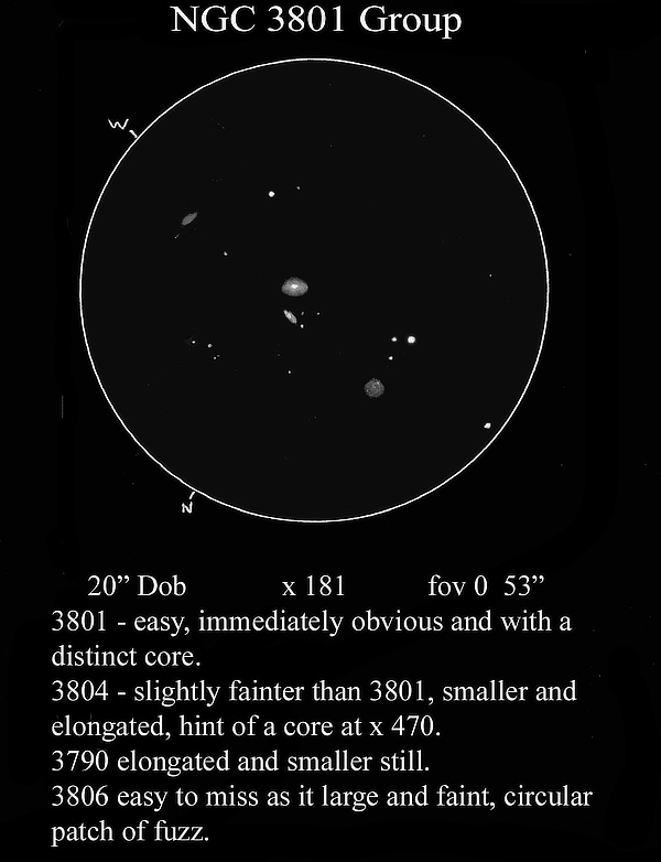 Sketch of the NGC 3801 group of galaxies made by Mike Wood from Suffolk