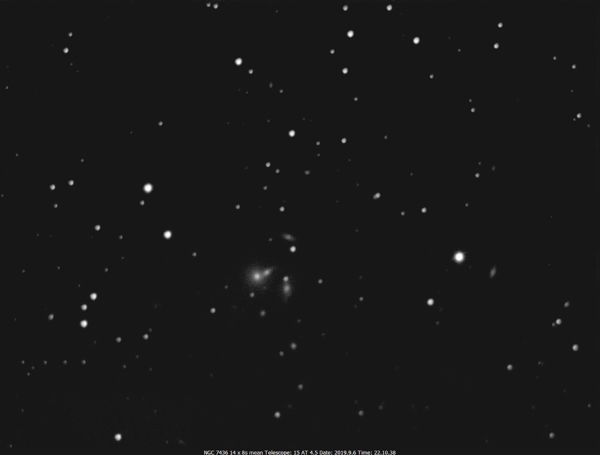 EAA capture of the NGC 7436 galaxy group by Mike Wood