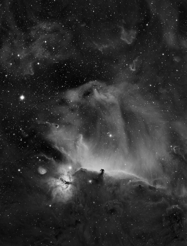 The Horsehead and Flame nebula in Hydrogen Alpha - Image Courtesy of Sara Wager