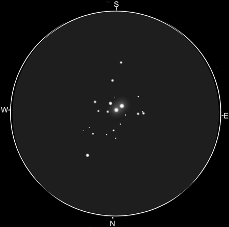 Sketch of NGC1502 and the double star STF 485 by Matt Heijen