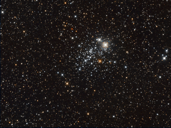 An image of open cluster NGC 457 in Cassiopeia provided by David Davies
