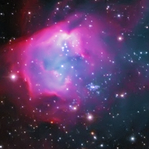 The Flying Lizard nebula and the open cluster NGC 602 in the Small Magellanic Cloud in Hydrus courtesy of Steve Crouch